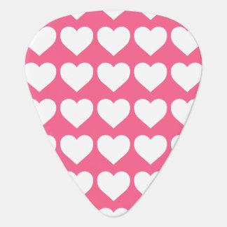 Weiße Herzen auf Midi-Rosa Plektron