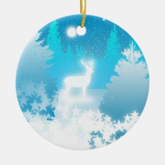 Weiße Hirsch-Weihnachten-Verzierung Keramik Ornament