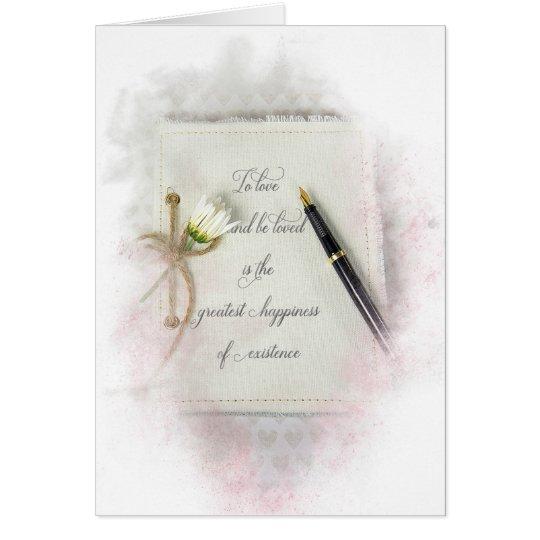 weiße Hochzeitszeitschrift mit Gänseblümchen Grußkarte
