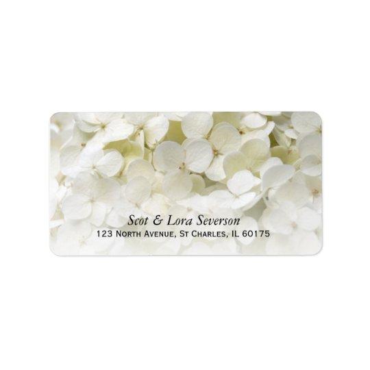 Weiße Hydrangea-Blumen-Rücksendeadresse Adress Aufkleber