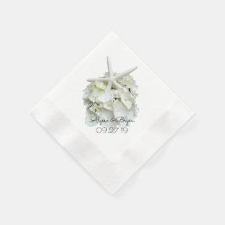 Weiße Hydrangeastarfish-Hochzeit Papierservietten