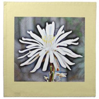 Weiße Kaktus-Blumen-Abendessen-Stoff-Servietten Serviette