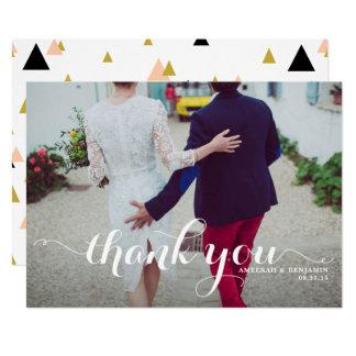 Weiße Kalligraphie-Skript-Foto-Hochzeit danken 12,7 X 17,8 Cm Einladungskarte