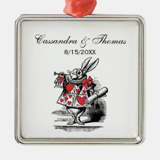 Weiße Kaninchen-Gerichttrumpeter-Alice im Silbernes Ornament
