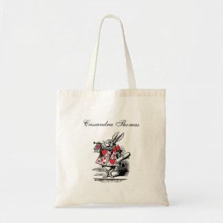 Weiße Kaninchen-Gerichttrumpeter-Alice im Tragetasche