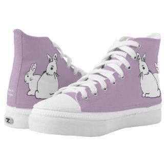 Weiße Kaninchen-malvenfarbene lila Schuhe