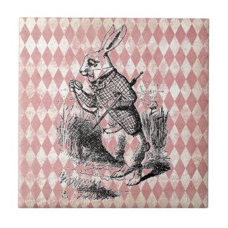 Weiße Kaninchen-Rosa-Diamant-Fliese Kleine Quadratische Fliese