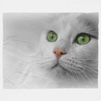 Weiße Katzen-Fleece-Decke, groß Fleecedecke