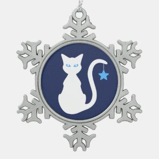 Weiße Katzen-Schneeflocke-Verzierung Schneeflocken Zinn-Ornament