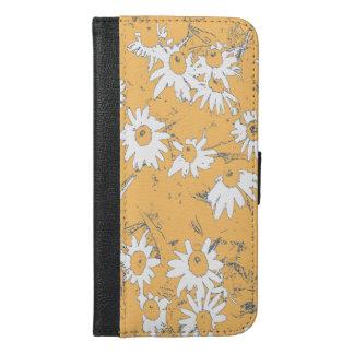 Weiße Kegel-Blumen mit orange Hintergrund iPhone 6/6s Plus Geldbeutel Hülle