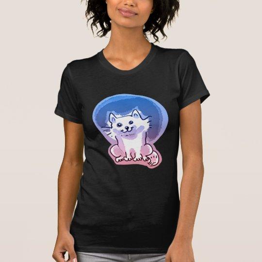weiße Kitty-Cartoon-Artillustration T-Shirt