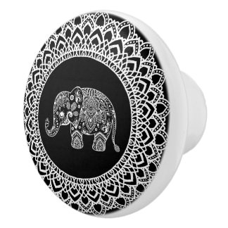 Weiße Kreis-Mandala u. weißer Paisley-Elefant Keramikknauf