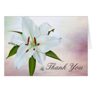 Weiße Lilien-Begräbnis danken Ihnen Karten