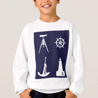 Weiße Marine, Rad, Helm, Anker auf Marine-Blau Sweatshirt