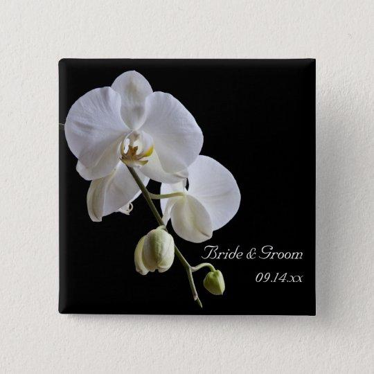 Weiße Orchidee auf schwarzer Hochzeit Quadratischer Button 5,1 Cm
