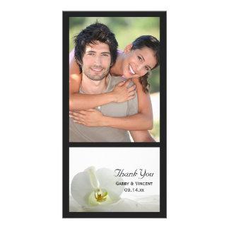 Weiße Orchidee und Schleier-Hochzeit danken Ihnen Karte