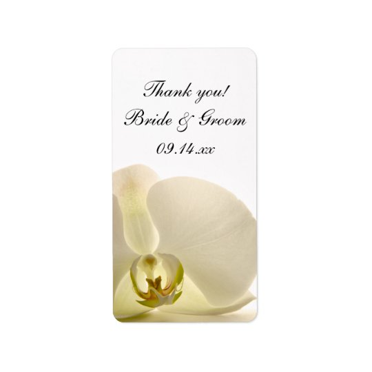 Weiße Orchideen-Blumen-Hochzeit danken Ihnen, Adressetiketten