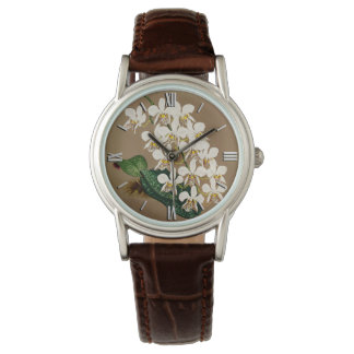Weiße Orchideen botanischer Druck, TAN-Hintergrund Uhr