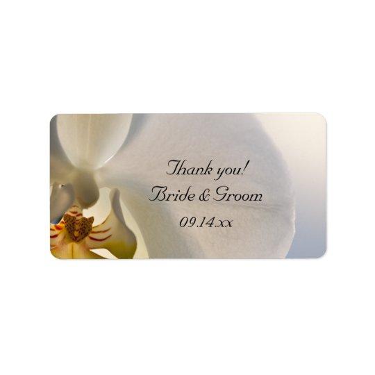 Weiße Orchideen-Eleganz-Hochzeit danken Ihnen, Adressaufkleber