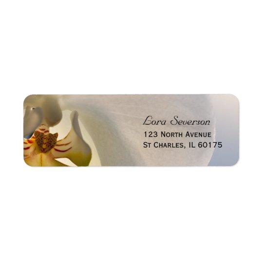 Weiße Orchideen-Eleganz-Rücksendeadresse Rücksende Aufkleber