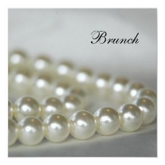 Weiße Perlen-Posten-Hochzeits-Brunch-Einladung Quadratische 13,3 Cm Einladungskarte