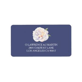 Weiße Pfingstrosen-BlumenAquarell-Blau Adressaufkleber