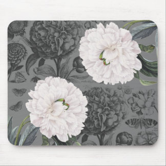 Weiße Pfingstrosen-romantisches Grau Mousepad