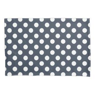 Weiße Polka-Punkte auf blau-grau Kissenbezug