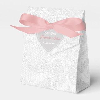 Weiße rosa graue Spitze-Gastgeschenk Hochzeit Geschenkschachtel