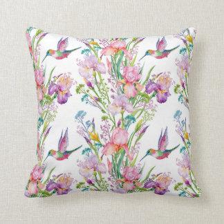 Weiße rosa Vögel des Iriskolibri-Lavendels Kissen