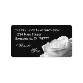 Weiße Rose danken Ihnen Adressaufkleber