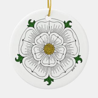 Weiße Rose von York Keramik Ornament