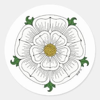 Weiße Rose von York Runder Aufkleber