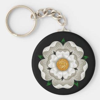 Weiße Rose von York Standard Runder Schlüsselanhänger
