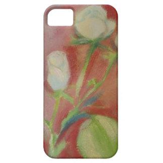 weiße Rosen auf rosa Hintergrund - ölen Sie auf iPhone 5 Etuis