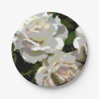 Weiße Rosen-Blumen-Fotografie Pappteller 17,8 Cm