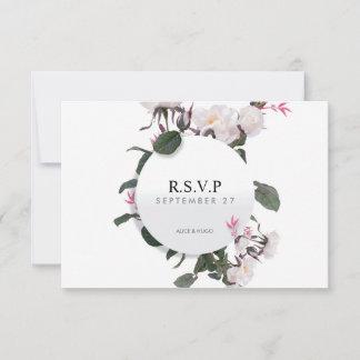 White Rose Flowers Love Wedding RSVP Card