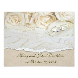 Weiße Rosen-Hochzeits-Versprechen-Erneuerung 10,8 X 14 Cm Einladungskarte