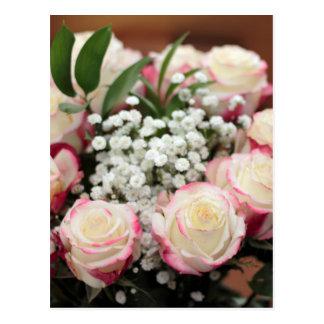 Weiße Rosen mit roter Höhepunkt-Nahaufnahme Postkarte