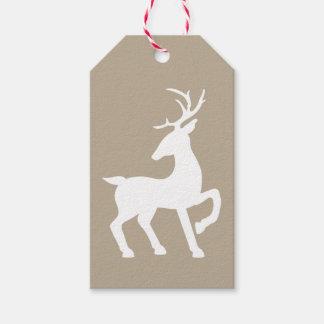 Weiße Rotwild-Silhouette auf beige Farbe Geschenkanhänger
