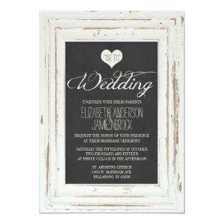 Weiße rustikale Rahmen-Kreide-Hochzeits-Einladung 12,7 X 17,8 Cm Einladungskarte