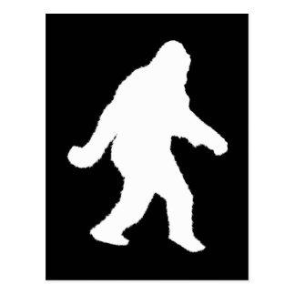 Weiße Sasquatch Silhouette für dunkle Hintergründe Postkarte