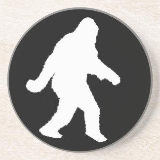 Weiße Sasquatch Silhouette für dunkle Hintergründe Sandstein Untersetzer