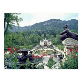 Weiße Schloss Linderhof Blumen Postkarte