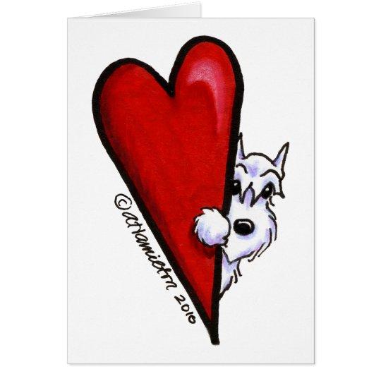 Weiße Schnauzer-Liebe Mitteilungskarte