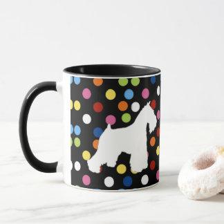 Weiße Schnauzer-Polka-Punkt-Kaffee-Tasse Tasse