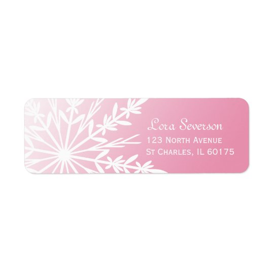 Weiße Schneeflocke auf rosa Rücksendeadresse Rückversand-Adressaufkleber