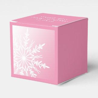Weiße Schneeflocke auf rosa Winter-Hochzeit Geschenkschachteln