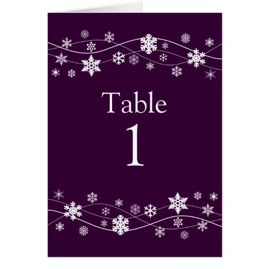 Weiße Schneeflocke-Tischnummer-Sitzplatz-Karten Grußkarte