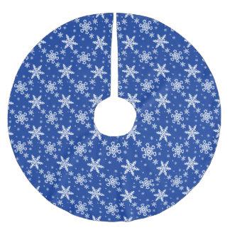 Weiße Schneeflocken auf Blau Polyester Weihnachtsbaumdecke